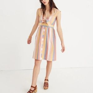 Madewell tie front cutout sherbert stripe dress